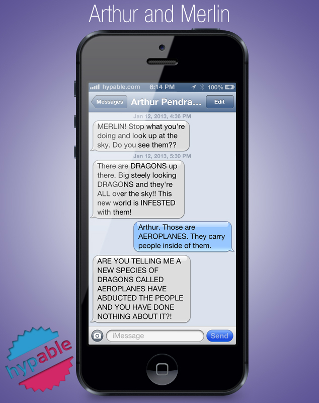 Merlin and Arthur Text Message Convo